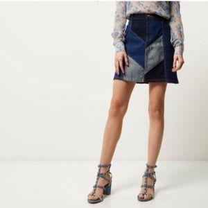 River Island Women's Blue Denim Patchwork Skirt
